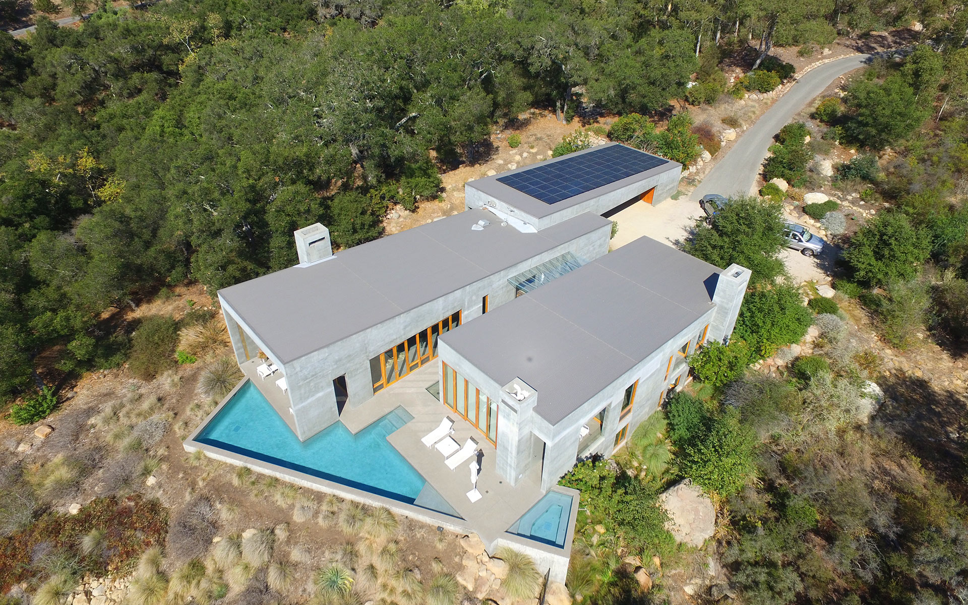 Image: A contemporary home, Montecito solar array installed by Good Energy Solar, the premier local Santa Barbara solar installer